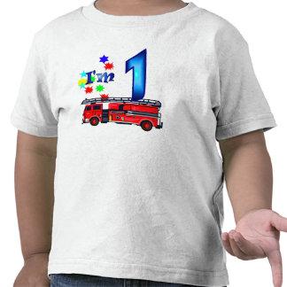 Coche de bomberos del 1r cumpleaños del muchacho camiseta