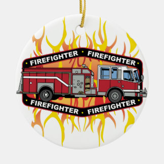 Coche de bomberos del bombero adorno navideño redondo de cerámica