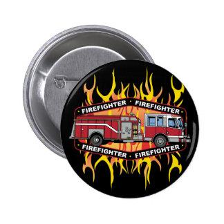 Coche de bomberos del bombero pin redondo de 2 pulgadas