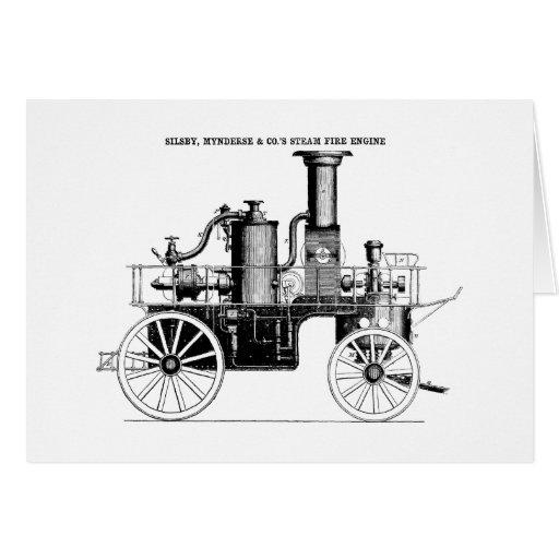 Coche de bomberos del vapor de Silsby 1858 Tarjeta De Felicitación