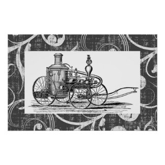 Coche de bomberos del vapor de Steampunk Póster