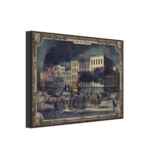 Coche de bomberos del vapor. Edad del vapor #012. Lona Estirada Galerías