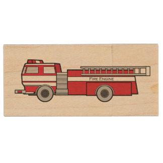 Coche de bomberos memoria USB 2.0 de madera