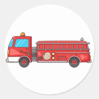 Coche de bomberos/motor del dibujo animado pegatina redonda
