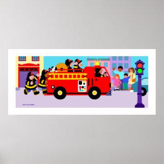 Coche de bomberos ocupado poster