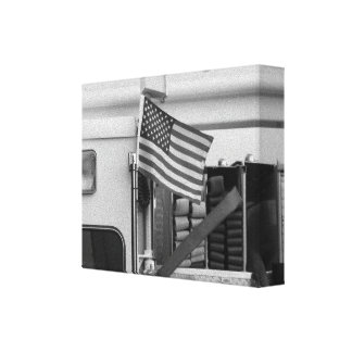 Coche de bomberos patriótico impresión en lona