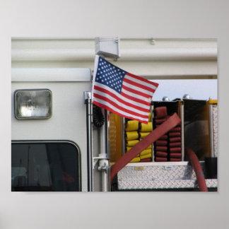 Coche de bomberos patriótico impresiones