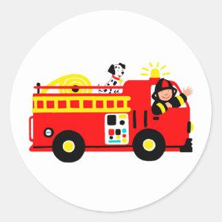 Coche de bomberos pegatinas redondas