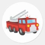 Coche de bomberos pegatina redonda