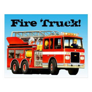Coche de bomberos rojo de encargo tarjeta postal