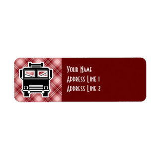 Coche de bomberos rojo de la tela escocesa etiqueta de remite