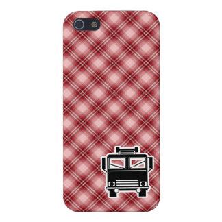 Coche de bomberos rojo de la tela escocesa iPhone 5 protector
