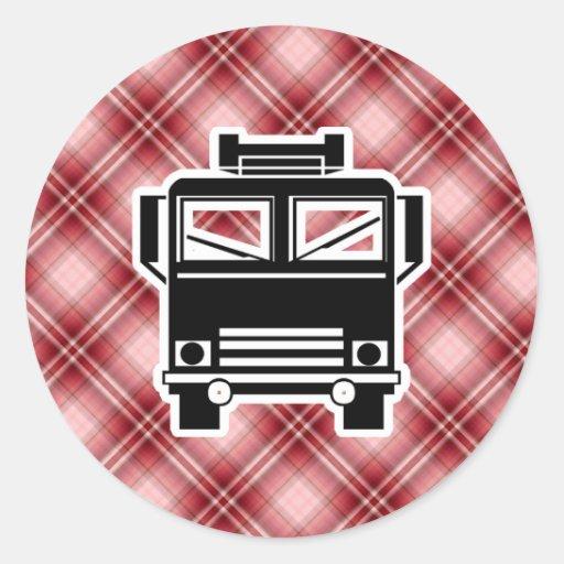 Coche de bomberos rojo de la tela escocesa etiquetas redondas