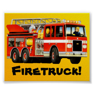Coche de bomberos rojo grande impresiones