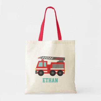 Coche de bomberos rojo lindo para los muchachos, bolsa tela barata