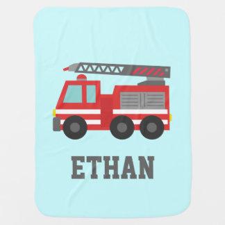 Coche de bomberos rojo lindo para los pequeños bom mantita para bebé