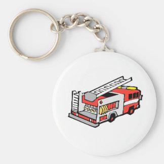 Coche de bomberos rojo llavero redondo tipo pin