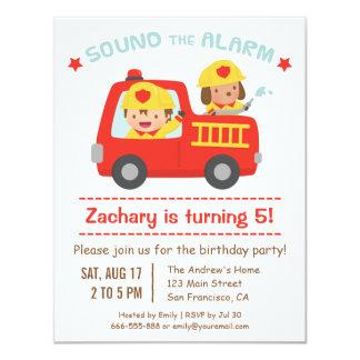 """Coche de bomberos rojo, perro lindo y fiesta de invitación 4.25"""" x 5.5"""""""