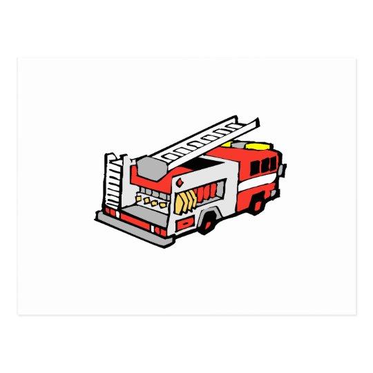 Coche de bomberos rojo tarjetas postales
