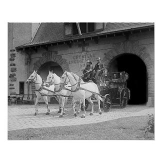 Coche de bomberos traído por caballo, 1922 impresiones
