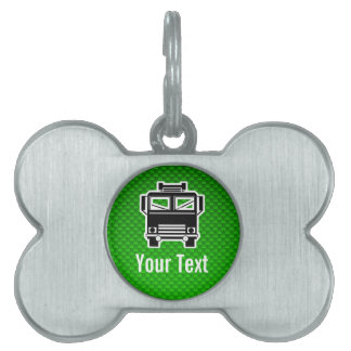 Coche de bomberos verde placa mascota