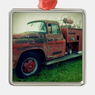 Coche de bomberos viejo adorno navideño cuadrado de metal