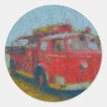 coche de bomberos viejo del wawa por el ciervo pegatina redonda