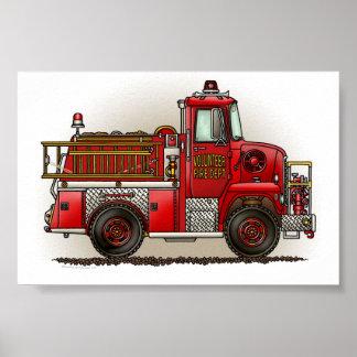Coche de bomberos voluntario póster