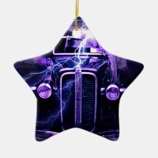 Coche de carreras adorno navideño de cerámica en forma de estrella