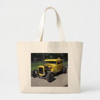 Coche de carreras amarillo bolsa de tela grande