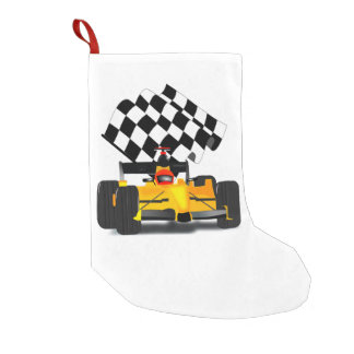 Coche de carreras amarillo con la bandera a bota navideña pequeña