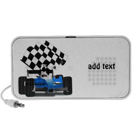 Coche de carreras azul con la bandera a cuadros laptop altavoces