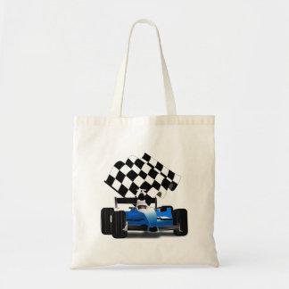 Coche de carreras azul con la bandera a cuadros bolsa tela barata