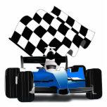 Coche de carreras azul con la bandera a cuadros fotoescultura vertical