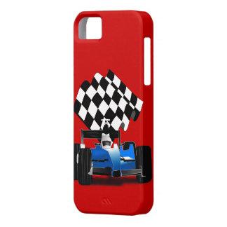 Coche de carreras azul con la bandera a cuadros iPhone 5 Case-Mate funda