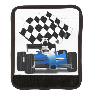Coche de carreras azul con la bandera a cuadros funda para asa de maleta