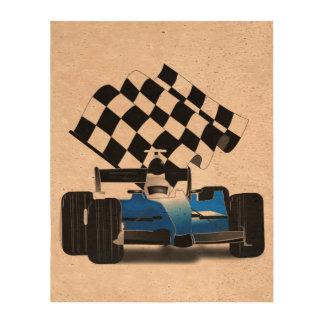Coche de carreras azul con la bandera a cuadros papel de corcho para fotos