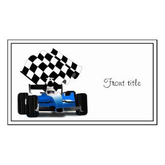 Coche de carreras azul con la bandera a cuadros tarjetas de visita