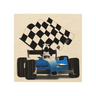 Coche de carreras azul con la bandera a cuadros impresión en madera
