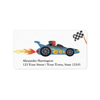 Coche de carreras azul etiquetas de dirección