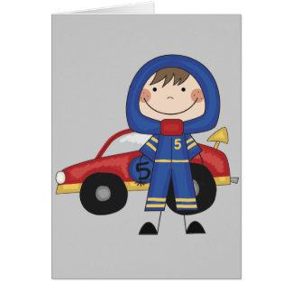 Coche de carreras - camisetas y regalos del muchac tarjeta de felicitación