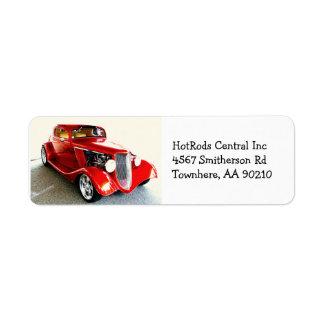 Coche de carreras clásico rojo del coche etiqueta de remitente