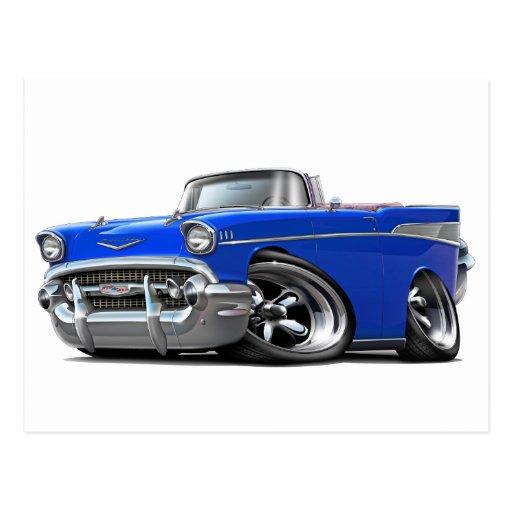 Coche de carreras convertible azul 1957 de Chevy B Postal