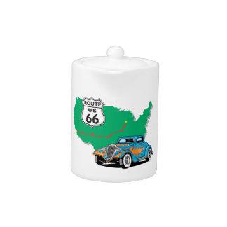 Coche de carreras del azul de la ruta 66