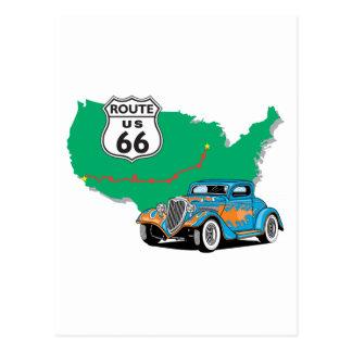 Coche de carreras del azul de la ruta 66 tarjetas postales