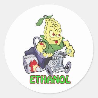 Coche de carreras del etanol pegatina redonda