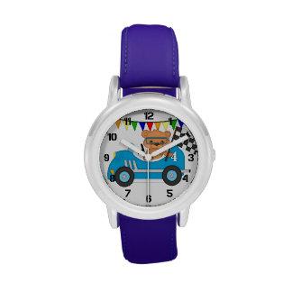 Coche de carreras del oso de peluche relojes de mano