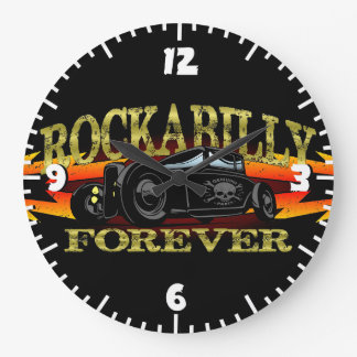 Coche de carreras del Rockabilly del engrasador Reloj Redondo Grande