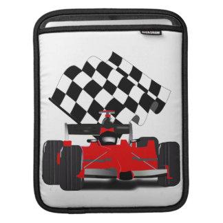 Coche de carreras rojo con la bandera a cuadros funda para iPads