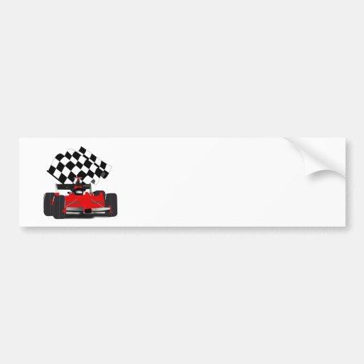 Coche de carreras rojo con la bandera a cuadros pegatina para auto